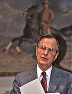 President H W Bush, Bush 41, makes a statement in the Roosevelt Room of the White House. ..Photograph by Dennis Brack, BB 29