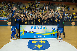 Players of RK Pivovarna Lasko are celebrating after the handball match between RK Celje Pivovarna Lasko and RK Gorenje Velenje in last round of Liga NLB 2018/19, on May 31st, 2019, in Arena Zlatorog, Celje, Slovenia. RK Celje PL became Slovenian National Champion in year 2019. Photo by Milos Vujinovic / Sportida