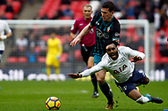 Pierre-Emile Hojbjerg of Southampton (L) fouls Danny Rose of Tottenham Hotspur (R). Premier league match, Tottenham Hotspur v Southampton at Wembley Stadium in London on Boxing Day Tuesday 26th December 2017.<br /> pic by Steffan Bowen, Andrew Orchard sports photography.