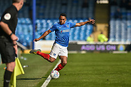 Portsmouth Defender, Nathan Thompson (20) keeps the ball in during the EFL Sky Bet League 1 match between Portsmouth and Rochdale at Fratton Park, Portsmouth, England on 13 April 2019.