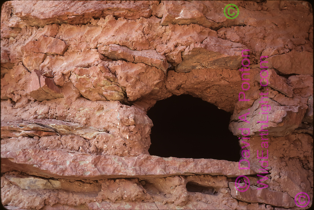 Window in Nankoweap Ruins room 4, with details of stone construction with mud mortar, photographed 8/23/1981, Grand Canyon, © 1981 David A. Ponton