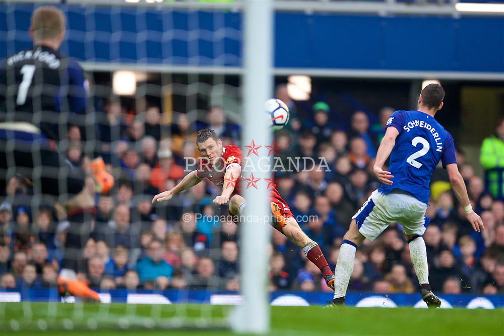 LIVERPOOL, ENGLAND - Saturday, April 7, 2018: Liverpool's James Milner during the FA Premier League match between Everton and Liverpool, the 231st Merseyside Derby, at Goodison Park. (Pic by David Rawcliffe/Propaganda)