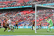 Steve Morison of Millwall (2L) shoots and scores his teams first goal. EFL Skybet football league one play off final match, Bradford city v Millwall at Wembley Stadium in London on Saturday 20th May 2017.<br /> pic by Steffan Bowen,  Andrew Orchard sports photography.