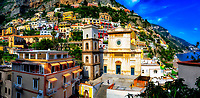 """""""Overview of the Church of Santa Maria Assunta in Positano""""…<br /> <br /> This image is a combination of three horizontal images to create a panoramic view centered on the main focal point of Positano…the Church of Santa Maria Assunta.  After an exhilarating drive along the high cliffs on the Amalfi coast from Sorrento down to Positano, I found myself in sensory overload with its beauty and photogenic appeal.  After circling around the entire village and its cliffside three times on Positano's only street, which was a single lane winding down from the top and back up and over to where I began, I finally found the parking garage by the hotel, about 2/3rds up the facing village in this image.  The climb down the winding road and steep staircases made for quite a workout in the hot late May sun.  Reaching the beach and marina, I forgot about my exhaustion and could not capture enough of Positano's plush beauty; however, the large amount of tourists and bright sun did not allow for ideal conditions.  As I made my way along the beach and shoreline, rays from the late afternoon sunlight coming over the mountain top blinded me as they illuminated the famous church. The Church of Santa Maria Assunta is a prominent aspect of Positano's cultural, religious and architectural landscape. Strategically located in the center of town with the backdrop of the azzurro Mediterranean Sea, the church's colorful majolica tiled cupola is one of the town's iconic symbols. The ancient church was dedicated to the Blessed Virgin Mary in 1159.  Santa Maria keeps a blessed and watchful eye over Positano and welcomes all to this beautiful seaside village."""