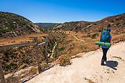 Hiker at Water Canyon, Santa Rosa Island, Channel Islands National Park, California USA