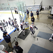 UConn players leave the ice between periods during the UConn Vs Boston University, Women's Ice Hockey game at Mark Edward Freitas Ice Forum, Storrs, Connecticut, USA. 5th December 2015. Photo Tim Clayton
