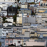 Homes that line Lombard Street in the Russian Hill neighborhood of San Francisco, CA.