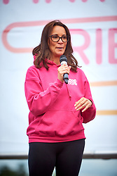 © Licensed to London News Pictures. 12/05/2018. WOODSTOCK, UK. Pink Ribbon Walk at Blenheim Palace. The 10 or 20 mile walk through the picturesque grounds was started by tv presenter ANDREA MCLEAN (pictured) and raises vital funds for national charity Breast Cancer Care. Photo credit: Cliff Hide/LNP