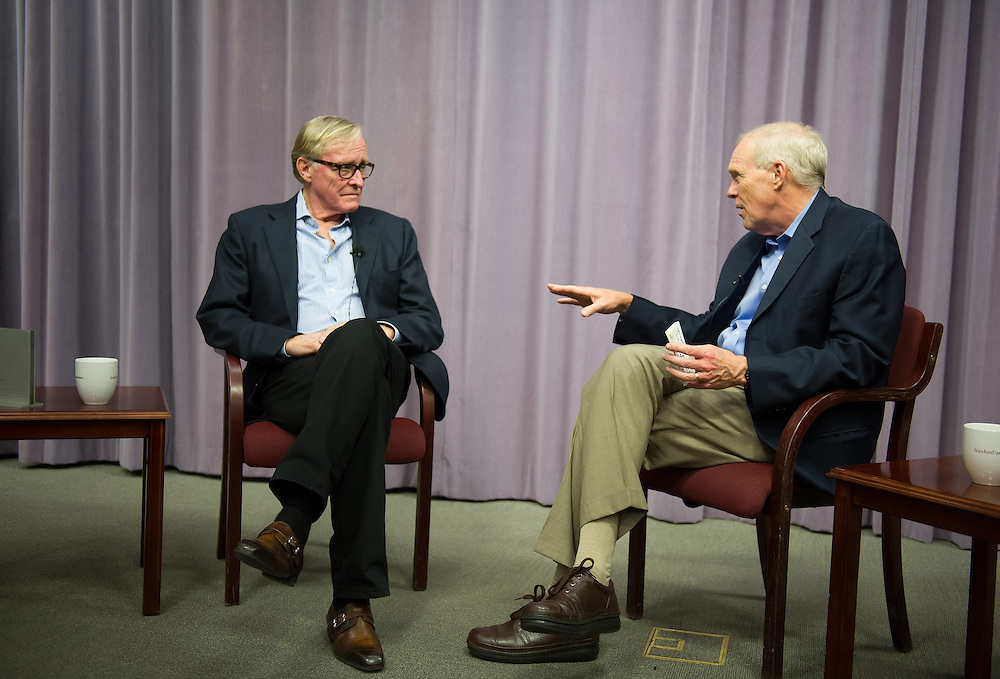 Stanford, California - May 23, 2013: Stanford University President John L. Hennessy leads a discussion with Stanford Engineering Hero Jim Clark at Stanford University.