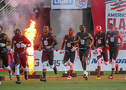 July 19, 2018 - Houston, TX, U.S. - HOUSTON, TX - JULY 19:  Godspeed team enters the field during the American Flag Football League Ultimate Final game between the Fighting Cancer and Godspeed on July 19, 2018 at BBVA Compass Stadium in Houston, Texas.  (Photo by Leslie Plaza Johnson/Icon Sportswire) (Credit Image: © Leslie Plaza Johnson/Icon SMI via ZUMA Press)