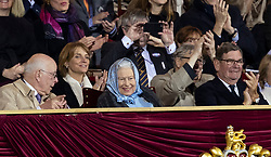 Queen Elizabeth II (third left) during the Royal Windsor Horse Show at Windsor Castle, Berkshire.