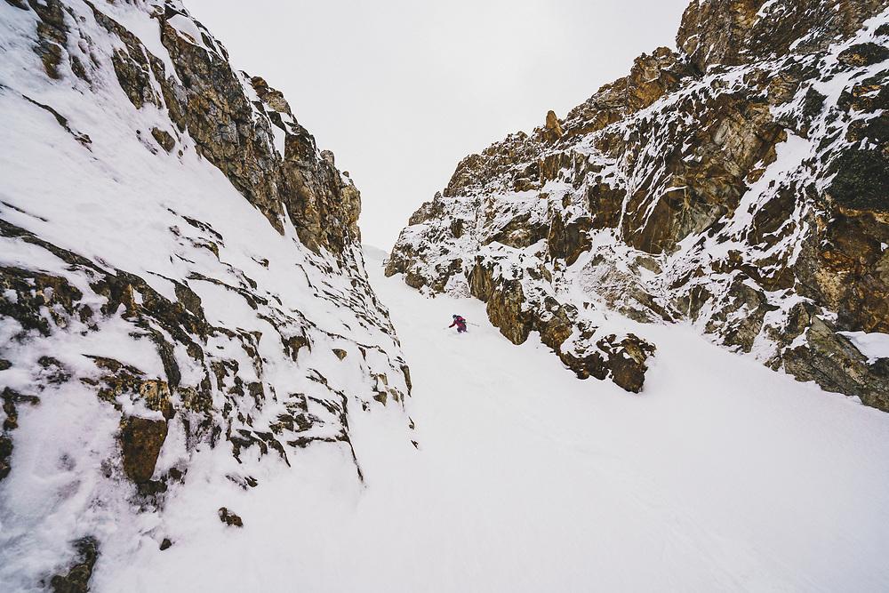 Mali Noyes skis the JC Couloir, Sawtooth Range, Idaho.
