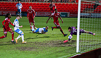 Hull City's Josh Magennis finds the back of the net, only for it to be disallowed for offside<br /> <br /> Photographer Alex Dodd/CameraSport<br /> <br /> The EFL Sky Bet League One - Accrington Stanley v Hull City - Tuesday 26th January 2021 - Crown Ground - Accrington<br /> <br /> World Copyright © 2021 CameraSport. All rights reserved. 43 Linden Ave. Countesthorpe. Leicester. England. LE8 5PG - Tel: +44 (0) 116 277 4147 - admin@camerasport.com - www.camerasport.com