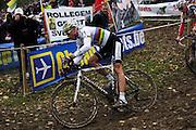 Friday 1 November 2013: Sven Nys, the current World Cyclocross Champion, descends during the Koppenbergcross 2013 elite men's race. Copyright 2013 Peter Horrell