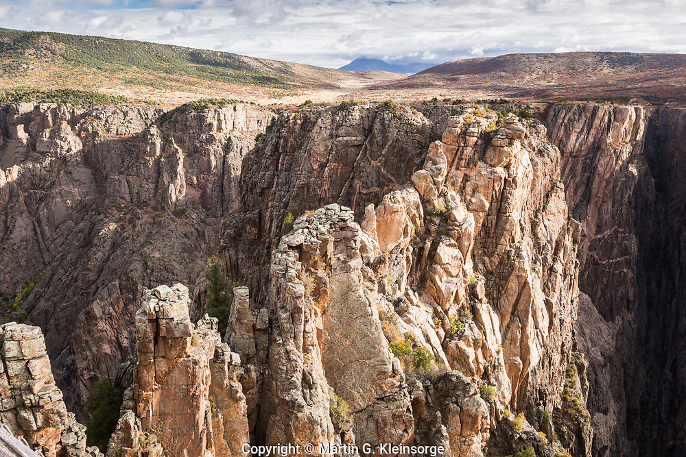 A view of the North Rim as seen from Rock Point along the South Rim.   Black Canyon of the Gunnison National Park, Colorado.
