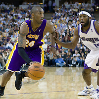 SACRAMENTO, CA - APRIL 06: Kobe Bryant #24 of the Los Angeles Lakers drives past John Salmons #15 of the Sacramento Kings during a game at the Arco Arena on April 4, 2008 in Sacramento, CA. NOTE TO USER: User expressly acknowledges and agrees that, by downloading and or using this photograph, User is consenting to the terms and conditions of the Getty Images License Agreement. Mandatory Credit: 2008 NBAE (Photo by Chris Elise/NBAE via Getty Images)