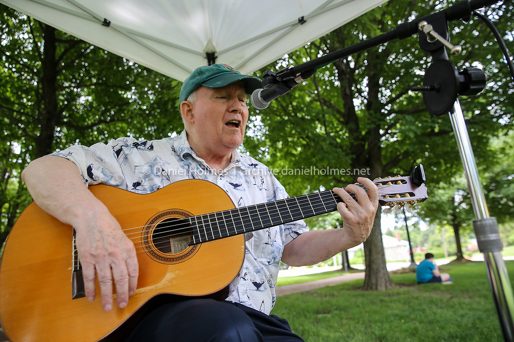 (6/30/19, HOPKINTON, MA) Paul McMahon performs during the Farmers Market on the Town Common in Hopkinton on Sunday. [Daily News and Wicked Local Photo/Dan Holmes]