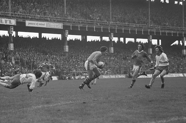 Tyrone catches the ball in his own goalmouth during the All Ireland Minor Gaelic Football Final, Tyrone v Kerry in Croke Park on the 28th September 1975.