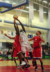 Players react to the ball bouncing off the board - Photo mandatory by-line: Dougie Allward/JMP - Tel: Mobile: 07966 386802 23/03/2013 - SPORT - Basketball - WISE Basketball Arena - SGS College - Bristol -  Bristol Academy Flyers V Essex Leopards
