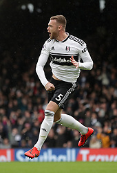 Fulham's Calum Chambers celebrates scoring his side's first goal of the game during the Premier League match at Craven Cottage, London.