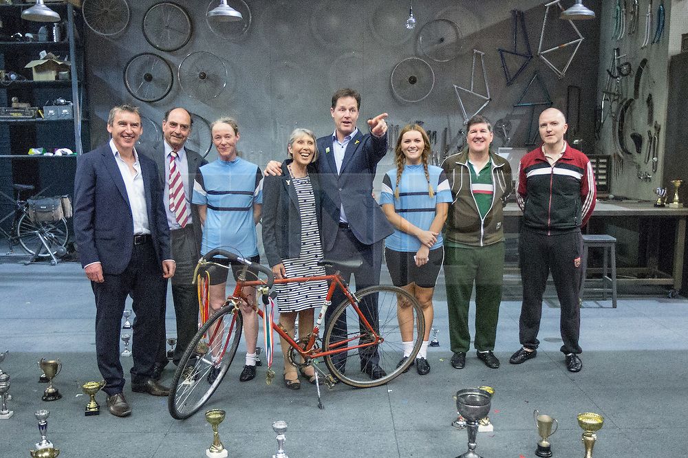 """© Licensed to London News Pictures . 03/07/2014 . Leeds , UK . The Deputy Prime Minister , NICK CLEGG MP , on the stage during a tour of the West Yorkshire Playhouse in Leeds today (Thursday 3rd July 2014) poses with the cast and crew of """" Beryl """" with , to his immediate left , Beryl Burton's daughter , Denise Burton  . The Liberal Democrat leader and MP for Sheffield Hallam meets cast and crew of production of Maxine Peake's """" Beryl """" based on the life of Beryl Burton , pioneering woman cyclist . Photo credit : Joel Goodman/LNP"""