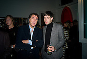 BRYAN FERRY; MARK RONSON, Damien Hirst party to preview his exhibition at Sotheby's. New Bond St. London. 12 September 2008 *** Local Caption *** -DO NOT ARCHIVE-© Copyright Photograph by Dafydd Jones. 248 Clapham Rd. London SW9 0PZ. Tel 0207 820 0771. www.dafjones.com.