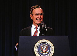 United States President George H.W. Bush announces his savings and loan bailout plan at a press conference at the White House in Washington, D.C. on February 6, 1989. Credit: Ron Sachs / CNP /ABACAPRESS.COM