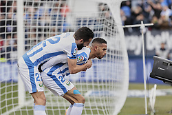 February 10, 2019 - Madrid, Madrid, Spain - CD Leganes's Dimitrios Siovas (L) and Youssef En-Nesyri (R) celebrate goal during La Liga match between CD Leganes and Real Betis Balompie at Butarque Stadium in Madrid, Spain. February 10, 2019. (Credit Image: © A. Ware/NurPhoto via ZUMA Press)