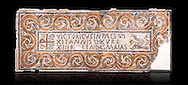 """Fifth century Eastern Roman Byzantine  Christian funerary mosaic dedicated to Leontia.  The Constantinian monogram depicting the Christian Chi-Rho symbol used by the Roman emperor Constantine I as part of his military standard (vexillum).  The inscription in the cartouche reads """" Leontia in peace and harmony with God, entered into eternal life on the Sixth Ides of October"""". Two birds and cut Roses occupy the rest of the mosaic. <br /> <br /> Excavated from Demna Parish Church ruins between the 4th and 5th columns of the right aisle. The Bardo National Museum, Tunis, Tunisia.  Against a black background."""