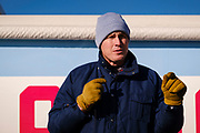 "01 NOVEMBER 2020 - CHARLES CITY, IOWA: Congressional candidate J.D. SCHOLTEN speaks from the back of a pickup truck parked in front of his motorhome during a drive in rally in Charles City, a community in northern Iowa. Scholten, a Democrat from Sioux City, Iowa, is running against Randy Feenstra, a Republican, in the 2020 general election on November 3. Iowa's 4th district, centered in the agricultural and sparsely populated northwest corner of the state, is the largest congressional district in Iowa and encompasses about ⅓ of the state of Iowa. Because of the COVID-19 pandemic Scholten has transitioned to drive rallies rather than in person. Scholten is on his ""Every Town Tour 2020."" He is visiting all 375 towns in the 39 counties in the district.           PHOTO BY JACK KURTZ"