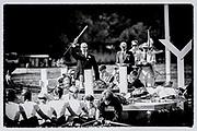 """Henley on Thames,  GREAT BRITAIN,30th June 2012,  Umpire, Richard PHELPS, going through the starting procedure, before starting the race, 2012 Henley Royal Regatta,  Henley, Henley Reach, Henley Regatta Course,   """"Film Noir Style Photography"""", © Peter SPURRIER,"""