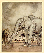The Lion, Jupiter and the Elephant from the book ' Aesop's fables ' Published in 1912 in London by Heinemann and in  New York by Page Doubleday Illustrated by Arthur Rackham,