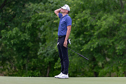 May 9, 2019 - Dallas, TX, U.S. - DALLAS, TX - MAY 09: Aaron Wise reacts after just missing his birdie attempt on the ninth green during the first round of the AT&T Byron Nelson on May 9, 2019 at Trinity Forest Golf Club in Dallas, TX. (Photo by Andrew Dieb/Icon Sportswire) (Credit Image: © Andrew Dieb/Icon SMI via ZUMA Press)