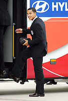 Photo: Chris Ratcliffe.<br />England arrival at Baden Airpot. 05/06/2006.<br />Theo Walcott is all smiles as England land at Baden Baden.