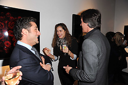 LUCA DEL BONO, MAHEE THORAK and TIM JEFFERIES at a private view of photographs by Guido Mocafico entitled 'Guns and Roses' held at Hamiltons Gallery, 13 Carlos Place, London W1 on 21st January 2010.