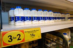 Milk on sale in Morrisons supermarket UK