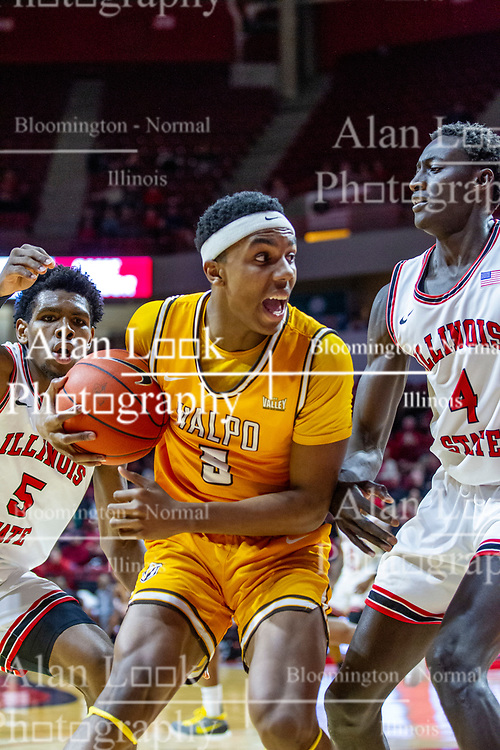 NORMAL, IL - February 15: Donovan Clay looks for a shot when trapped by Keith Fisher III and Abdou Ndiaye during a college basketball game between the ISU Redbirds and the Valparaiso Crusaders on February 15 2020 at Redbird Arena in Normal, IL. (Photo by Alan Look)