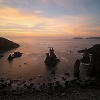 Jagged coastal sea stacks at Mangersta, Isle of Lewis, Outer Hebrides, Scotland