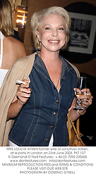 MRS LOLICIA AITKEN former wife of Jonathan Aitken, at a party in London on 23rd June 2003.PKT 137