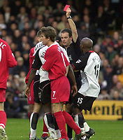 Picture: Henry Browne.<br />Date: 02/11/2003.<br />Fulham v Liverpool  FA Barclaycard Premiership.<br />Luis Boa Morte is sent off for his challenge on Florent Sinema - Pongolle