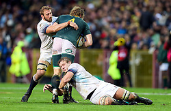 Chris Robshaw and Joe Launchbury of England tackling RG Snyman of South Africa- Mandatory by-line: Steve Haag/JMP - 23/06/2018 - RUGBY - DHL Newlands Stadium - Cape Town, South Africa - South Africa v England 3rd Test Match, South Africa Tour