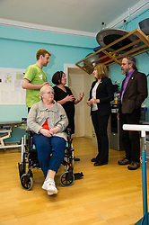 Pictured: Physiotherapist Paidraic O'Connelly and guest Evelyn Bellany explained the facilities to Marie O'Keefe, Alison Johnstone and Eurig Scandrett during their tour.<br /> <br /> Scottish Greens Health and social care spokeswoman Alison Johnstone took the opportunity e to meet staff and visitors at Leuchie House respite centre in North Berwick today.<br /> <br /> Ger Harley | EEm 26 April 2016