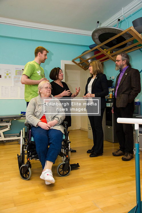 Pictured: Physiotherapist Paidraic O'Connelly and guest Evelyn Bellany explained the facilities to Marie O'Keefe, Alison Johnstone and Eurig Scandrett during their tour.<br /> <br /> Scottish Greens Health and social care spokeswoman Alison Johnstone took the opportunity e to meet staff and visitors at Leuchie House respite centre in North Berwick today.<br /> <br /> Ger Harley   EEm 26 April 2016