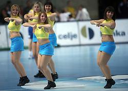Dancers at handball match RK Cimos Koper vs Chehovskie Medvedi (RUS) in E group of EHF Champions league Men 2008/2009, on October 4, 2008 in Arena Bonifika, Koper, Slovenia. Chehovskie Medvedi won 35:28. (Photo by Vid Ponikvar / Sportal Images)