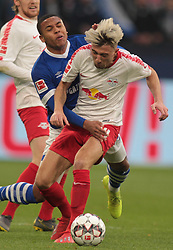 March 16, 2019 - Gelsenkirchen, Germany - Kevin Kampl of RB Leipzig, right, and Breel Embolo of Schalke 04 are seen in action during the German Bundesliga soccer match between FC Schalke 04 and RB Leipzig in Gelsenkirchen. (Credit Image: © Osama Faisal/SOPA Images via ZUMA Wire)