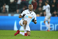 Jordan Ayew of Swansea city looks on.  Premier league match, Swansea city v Crystal Palace at the Liberty Stadium in Swansea, South Wales on Saturday 23rd December 2017.<br /> pic by  Andrew Orchard, Andrew Orchard sports photography.