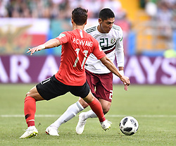 ROSTOV-ON-DON, June 23, 2018  Hwang Heechan (L) of South Korea vies with Edson Alvarez of Mexico during the 2018 FIFA World Cup Group F match between South Korea and Mexico in Rostov-on-Don, Russia, June 23, 2018. (Credit Image: © Chen Yichen/Xinhua via ZUMA Wire)