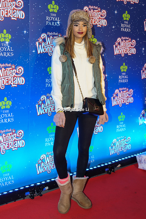 London, England, UK. 16th November 2017. Malaika Firth is a model attend the VIP launch of Hyde Park Winter Wonderland 2017 for a preview. tomorrow is opening for the public