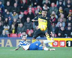 the cross from Watford's Lewis McGugan evades Reading's Daniel Williams - Photo mandatory by-line: Nigel Pitts-Drake/JMP - Tel: Mobile: 07966 386802 11/01/2014 - SPORT - FOOTBALL - Vicarage Road - Watford - Watford v Reading - Sky Bet Championship