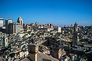 A view over the rooftops of Genoa from the Palazzo Rosso, Genoa, Italy. The Palazzo Brignole Sale or Palazzo Rosso is a house museum located in Via Garibaldi, in the historical center of Genoa.